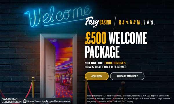 foxy casino £500 deposit bonus