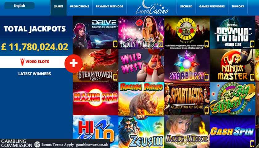 luna casino slots screen shot