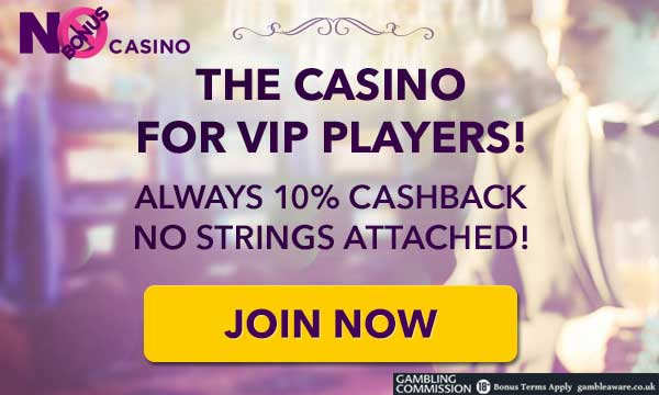 no bonus casino no wager cash back