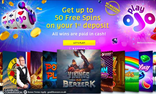 playojo 50 free spins no wager bonus