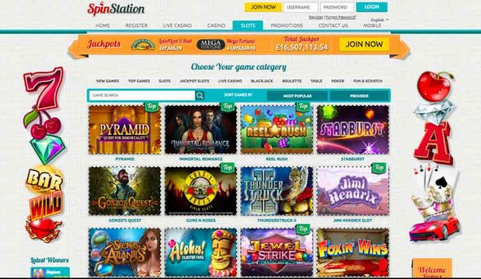spin station slot games