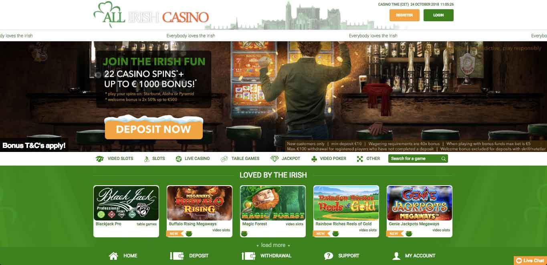 Take me to All Irish Casino