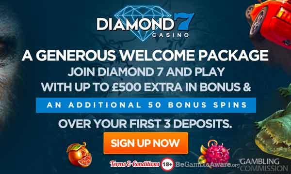 Diamond 7 Casino Bonus Claim 50 Extra Spins A 500 Welcome Bonus