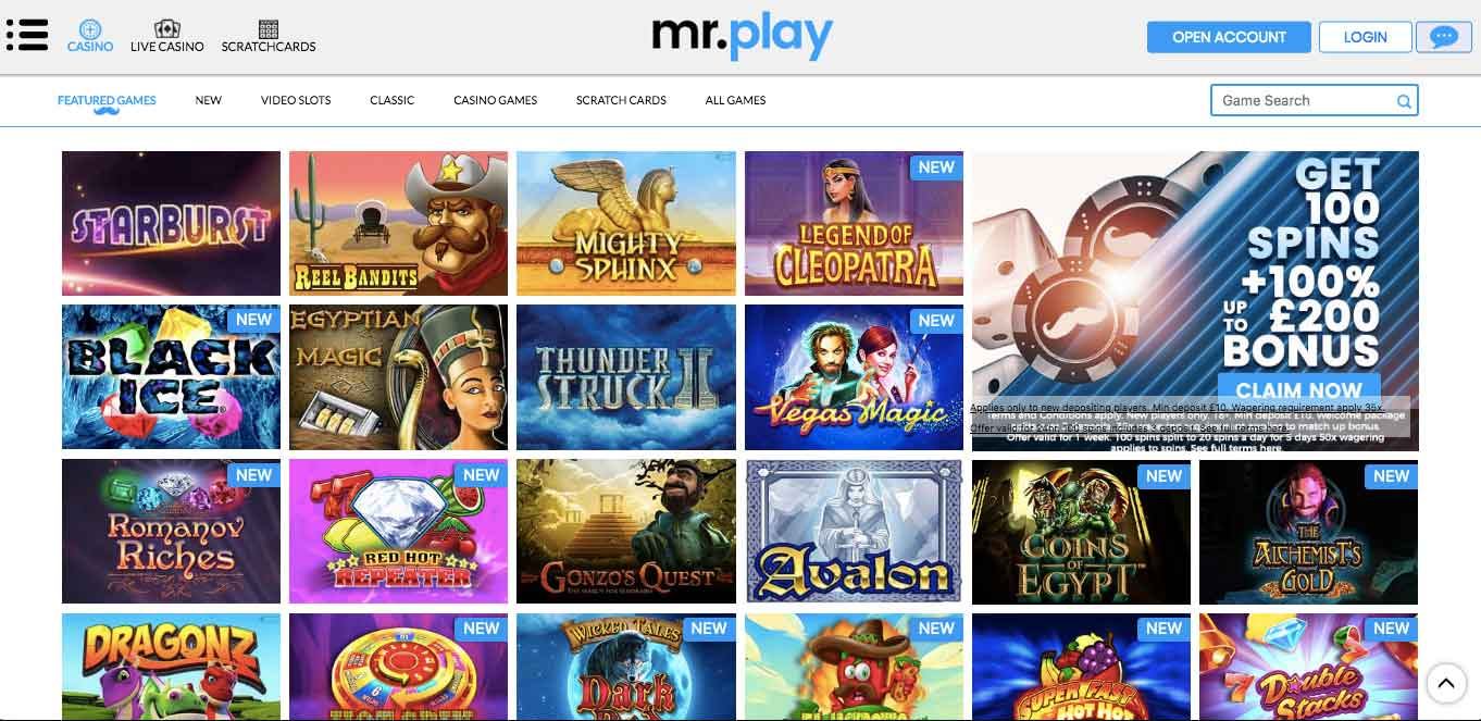 click to go to mr play casino