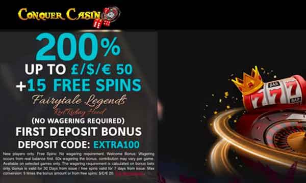 conquer casino bonus