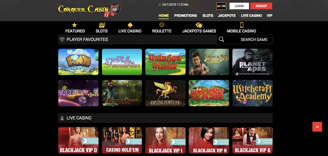 click to play at conquer casino