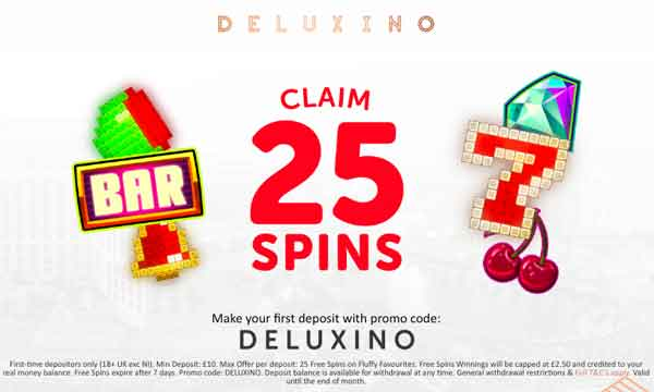 Deluxino Casino Bonus Get 25 No Wagering Free Spins Bonus