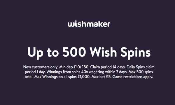 wishmaker casino free spins bonus