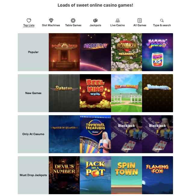 casumo games list
