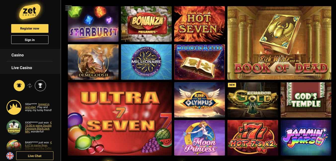 zetcasino slots & games