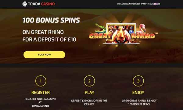 trada casino free spins low wagering