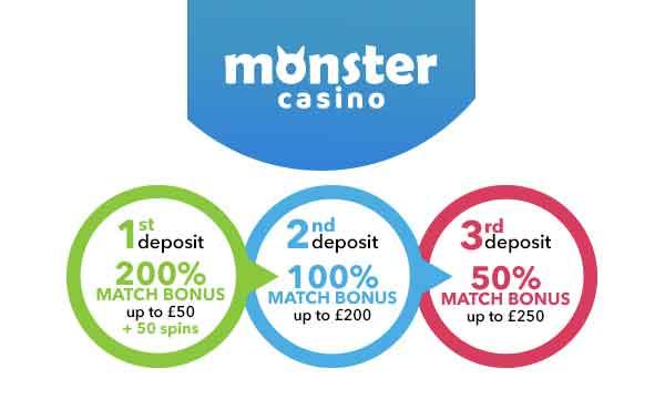 monster casino 200% match bonus
