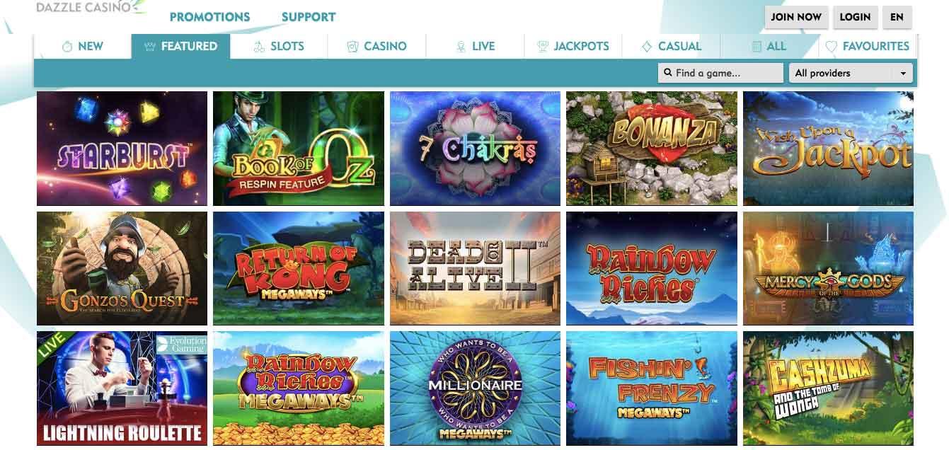 dazzle casino slots list