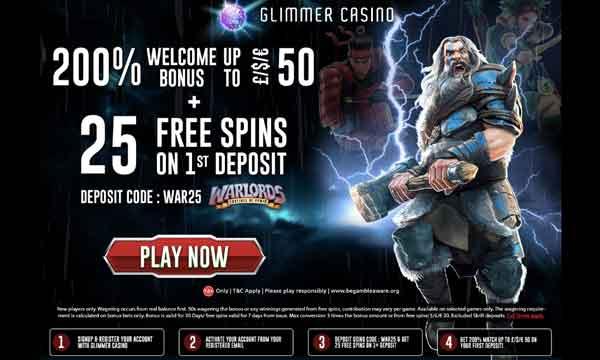glimmer casino 200 deposit bonus