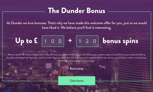 Dunder Casino No Deposit Bonus 20 No Deposit Spins On Book Of Dead