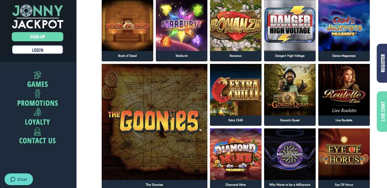 jonny jackpot slot games