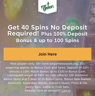 Mr Green No Deposit Bonus